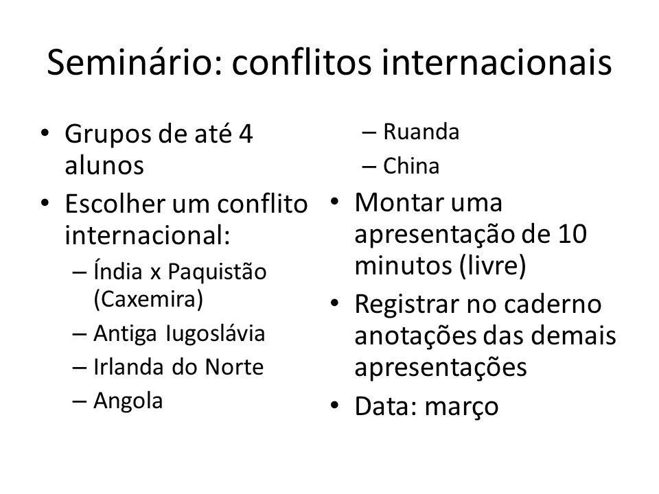 Seminário: conflitos internacionais