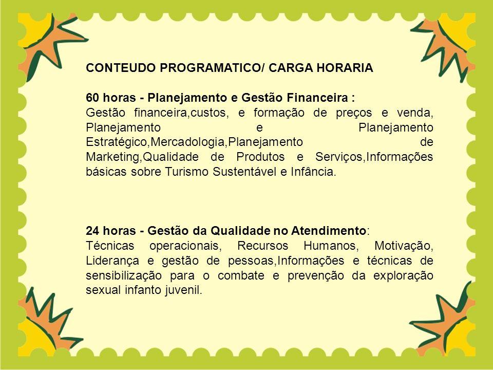 CONTEUDO PROGRAMATICO/ CARGA HORARIA