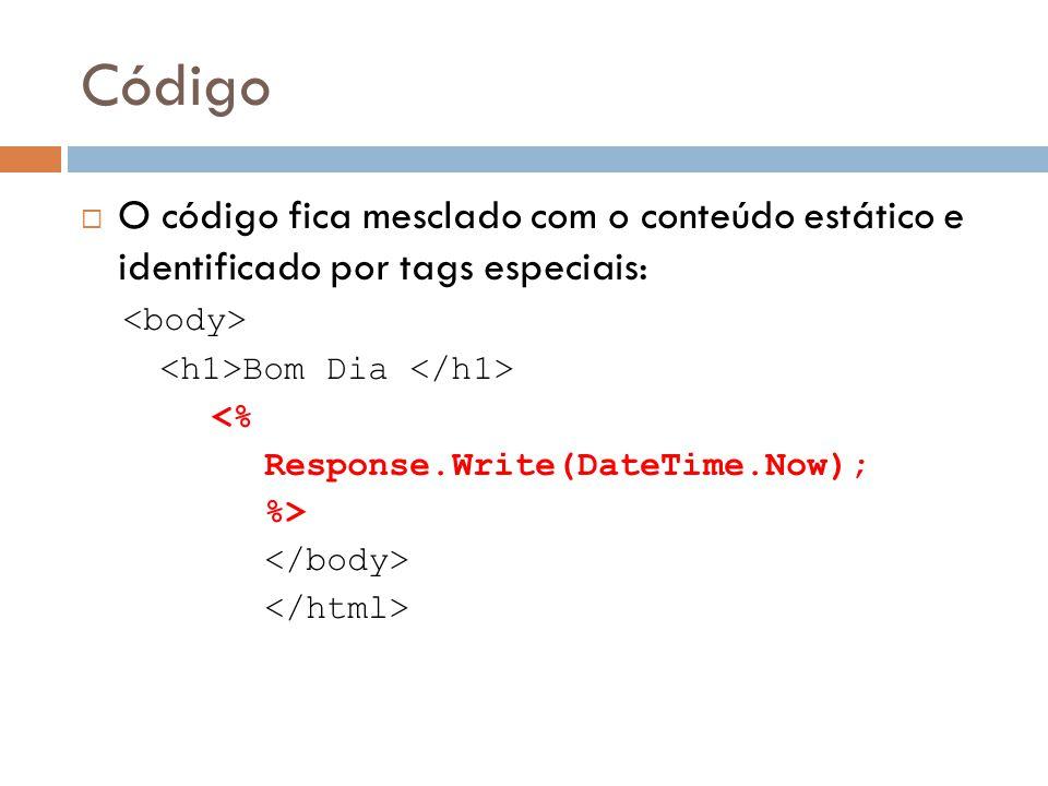 Código O código fica mesclado com o conteúdo estático e identificado por tags especiais: <body> <h1>Bom Dia </h1>