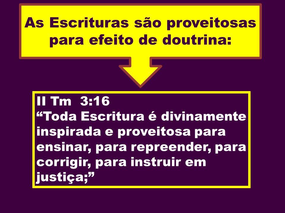 As Escrituras são proveitosas para efeito de doutrina: