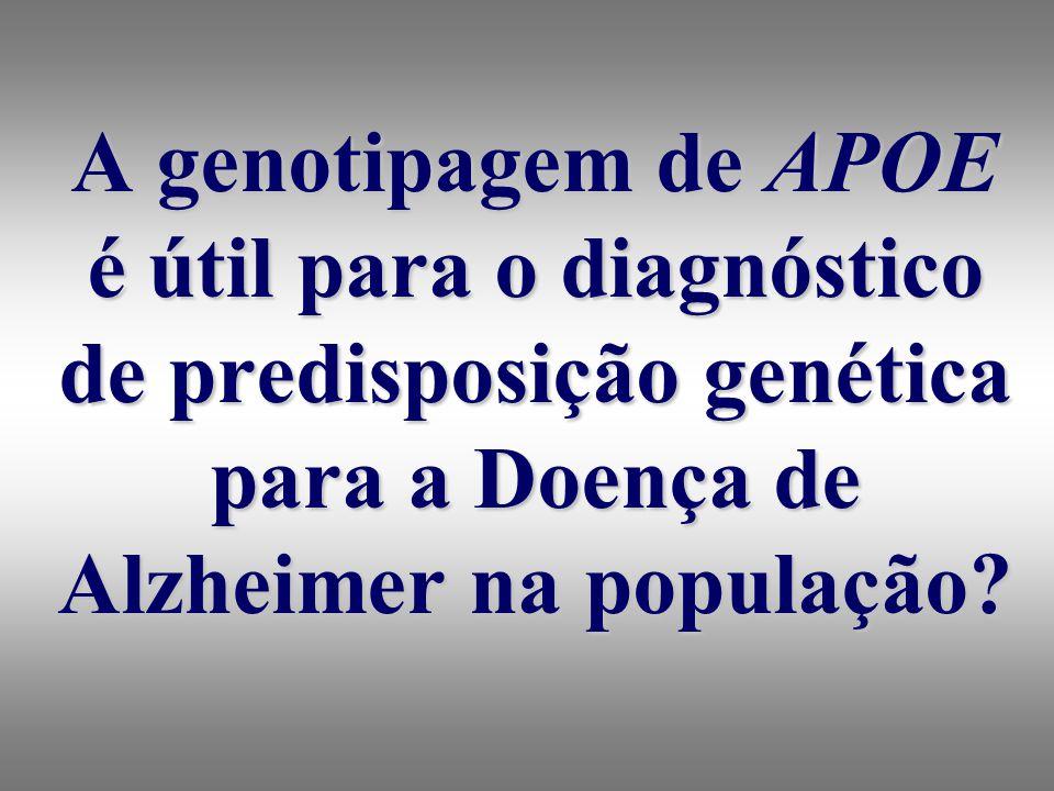 A genotipagem de APOE é útil para o diagnóstico de predisposição genética para a Doença de Alzheimer na população