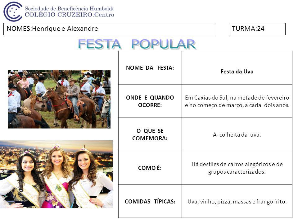 FESTA POPULAR NOMES:Henrique e Alexandre TURMA:24 NOME DA FESTA: