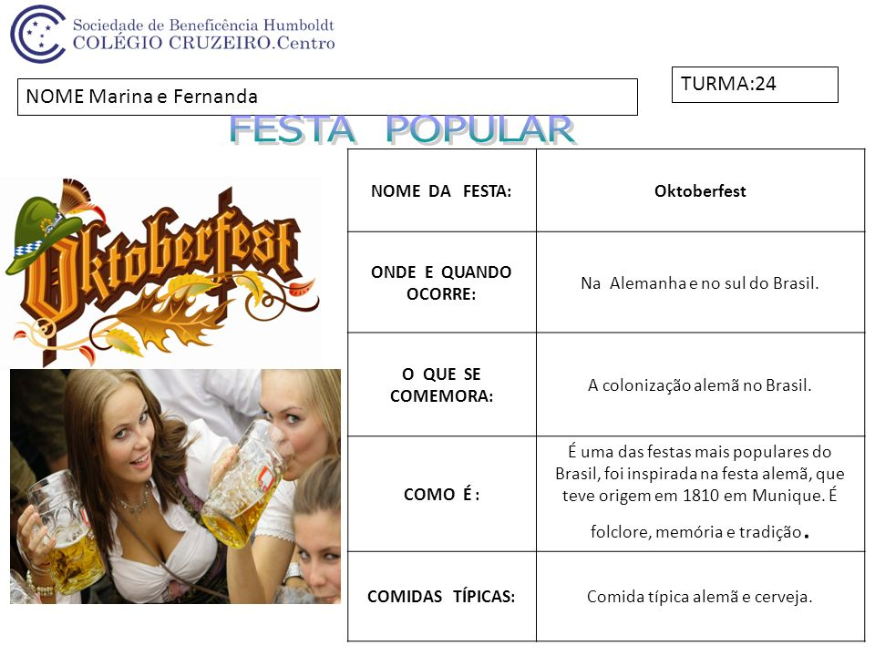 FESTA POPULAR TURMA:24 NOME Marina e Fernanda NOME DA FESTA: