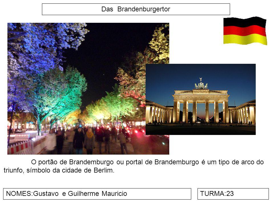 Das Brandenburgertor O portão de Brandemburgo ou portal de Brandemburgo é um tipo de arco do triunfo, símbolo da cidade de Berlim.