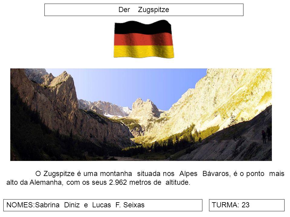 Der Zugspitze O Zugspitze é uma montanha situada nos Alpes Bávaros, é o ponto mais alto da Alemanha, com os seus 2.962 metros de altitude.