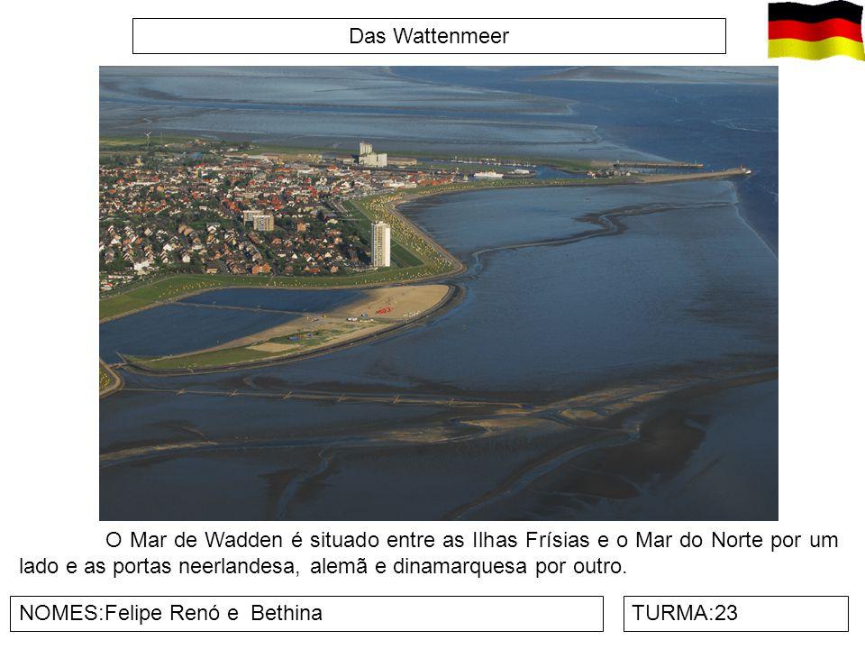 Das Wattenmeer O Mar de Wadden é situado entre as Ilhas Frísias e o Mar do Norte por um lado e as portas neerlandesa, alemã e dinamarquesa por outro.