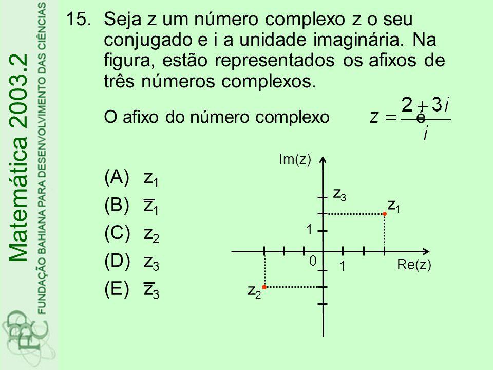 Seja z um número complexo z o seu conjugado e i a unidade imaginária