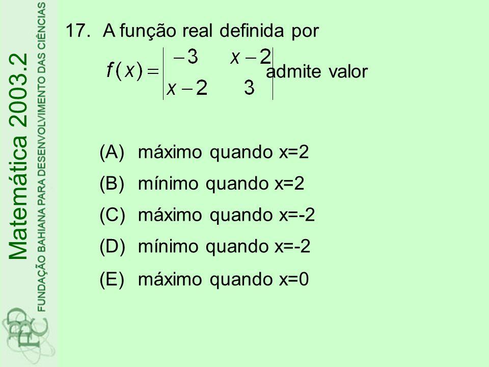 Matemática 2003.2 A função real definida por admite valor (A)