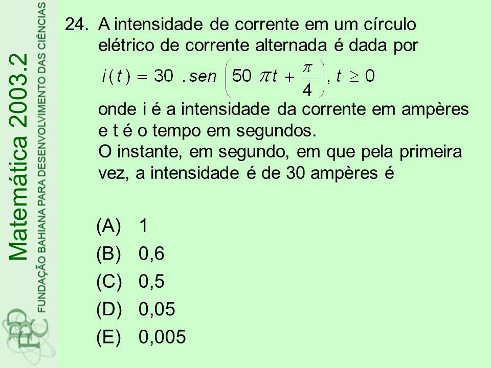 Matemática 2003.2 (A) 1 (B) 0,6 (C) 0,5 (D) 0,05 (E) 0,005