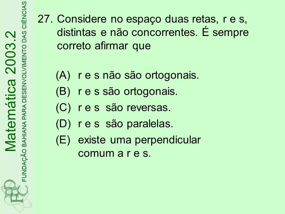 Considere no espaço duas retas, r e s, distintas e não concorrentes