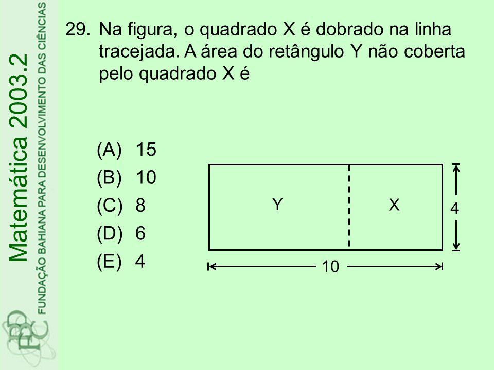 Matemática 2003.2 (A) 15 (B) 10 (C) 8 (D) 6 (E) 4