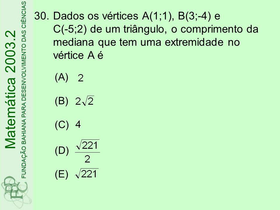 Dados os vértices A(1;1), B(3;-4) e C(-5;2) de um triângulo, o comprimento da mediana que tem uma extremidade no vértice A é