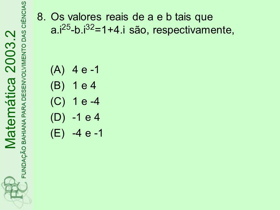 Os valores reais de a e b tais que a. i25-b. i32=1+4