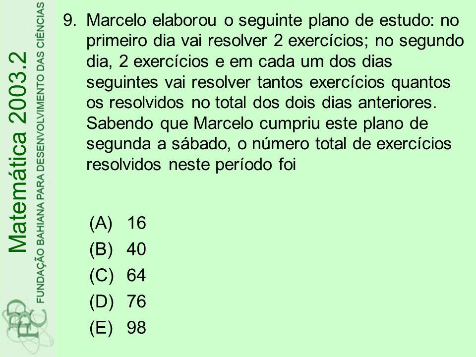 Matemática 2003.2 (A) 16 (B) 40 (C) 64 (D) 76 (E) 98