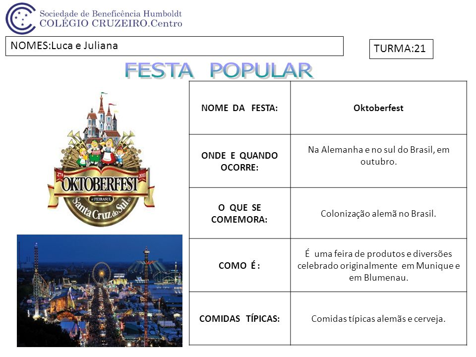 FESTA POPULAR NOMES:Luca e Juliana TURMA:21 NOME DA FESTA: Oktoberfest