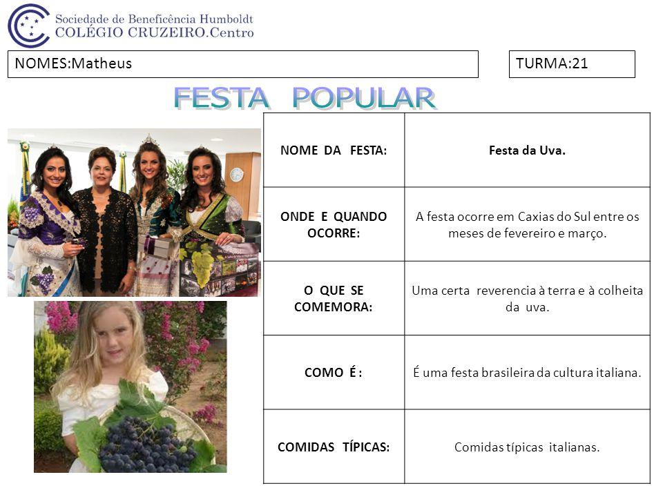 FESTA POPULAR NOMES:Matheus TURMA:21 NOME DA FESTA: Festa da Uva.