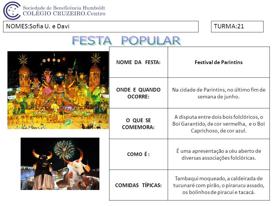 FESTA POPULAR NOMES:Sofia U. e Davi TURMA:21 NOME DA FESTA: