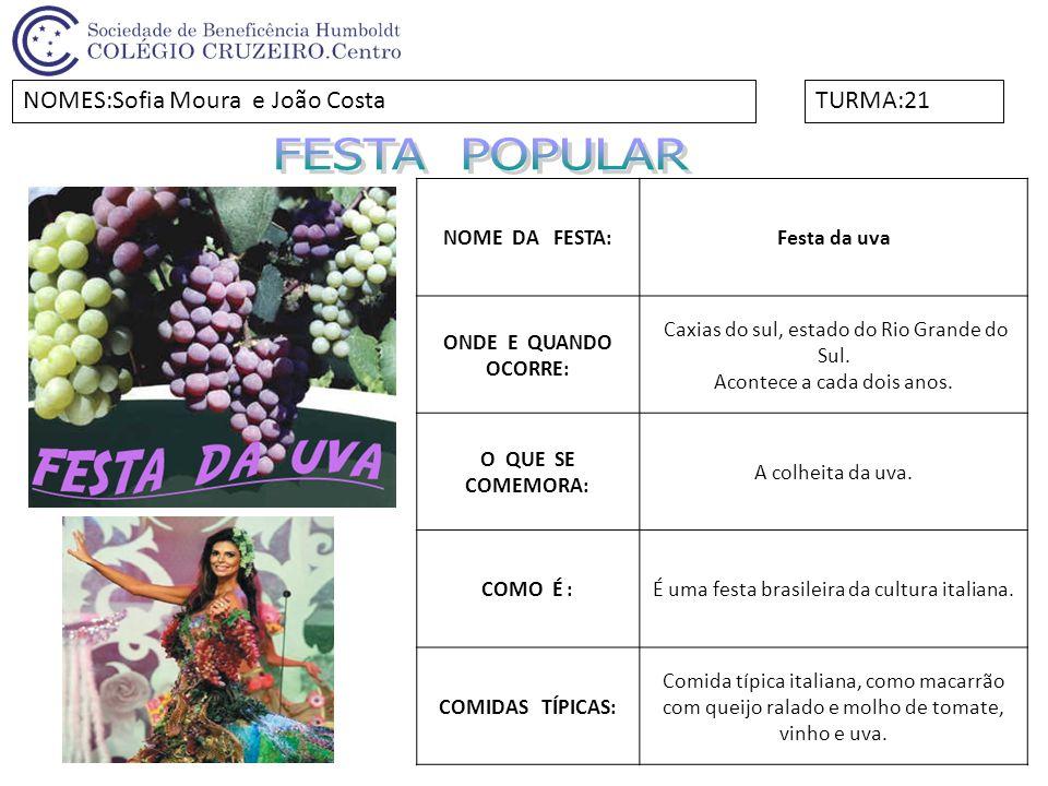 FESTA POPULAR NOMES:Sofia Moura e João Costa TURMA:21 NOME DA FESTA: