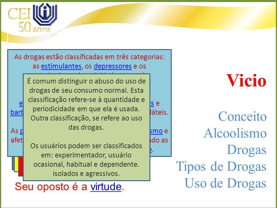 Vicio Conceito Alcoolismo Drogas Tipos de Drogas Uso de Drogas
