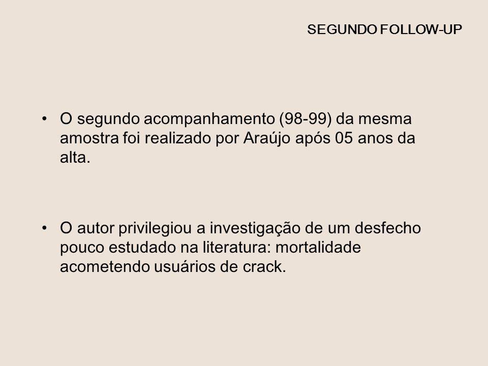 SEGUNDO FOLLOW-UP O segundo acompanhamento (98-99) da mesma amostra foi realizado por Araújo após 05 anos da alta.