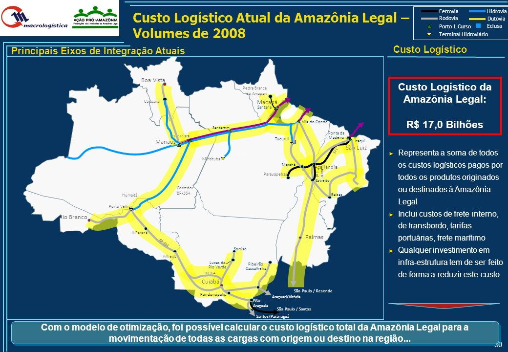Custo Logístico Atual da Amazônia Legal – Volumes de 2008