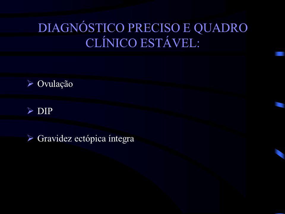 DIAGNÓSTICO PRECISO E QUADRO CLÍNICO ESTÁVEL: