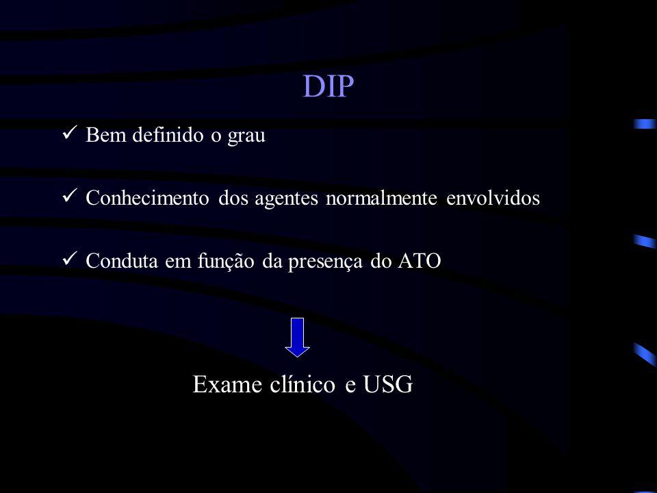 DIP Exame clínico e USG Bem definido o grau