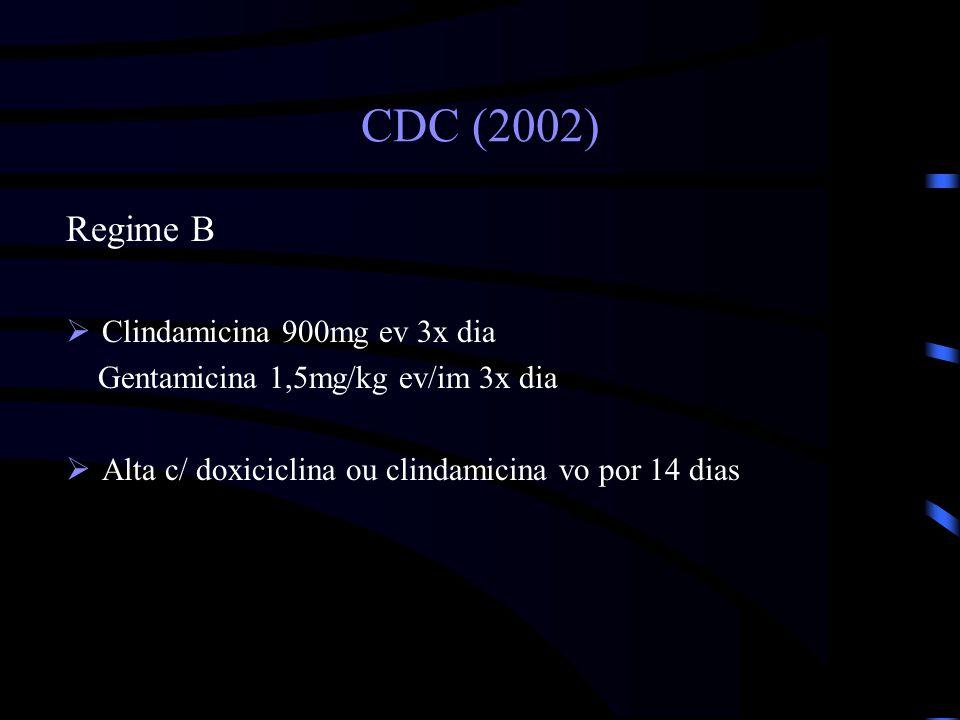 CDC (2002) Regime B Clindamicina 900mg ev 3x dia