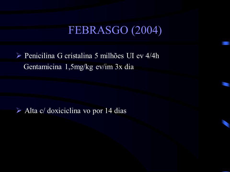 FEBRASGO (2004) Penicilina G cristalina 5 milhões UI ev 4/4h
