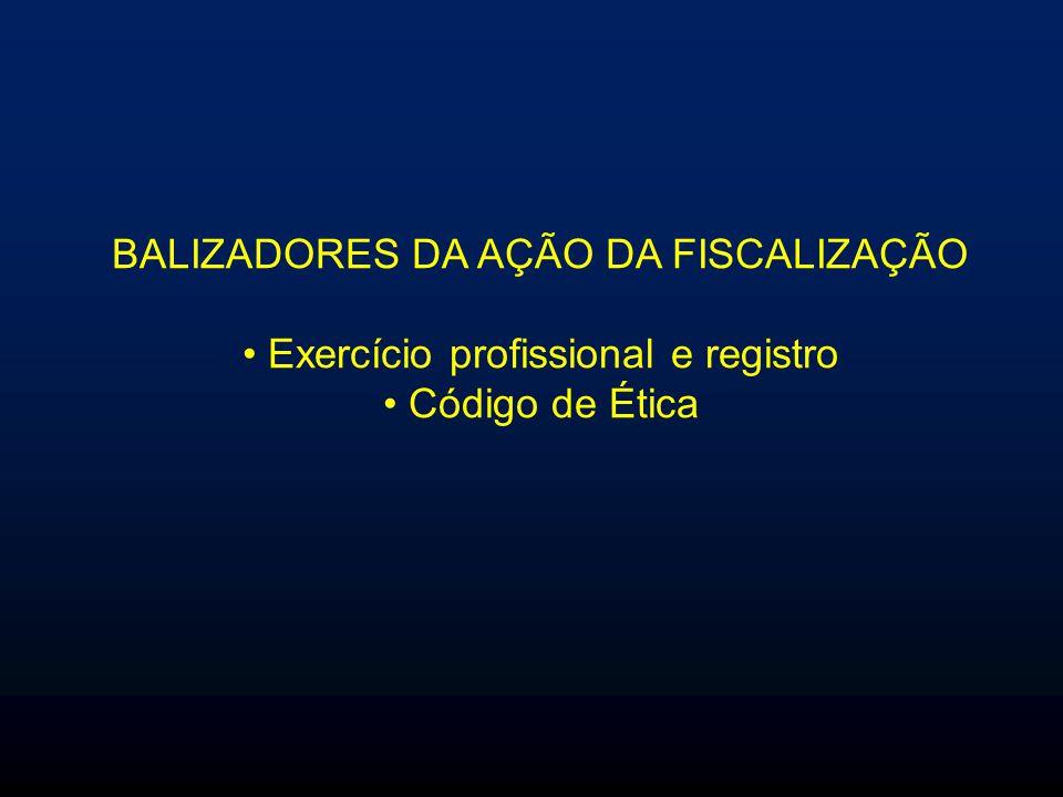 BALIZADORES DA AÇÃO DA FISCALIZAÇÃO Exercício profissional e registro