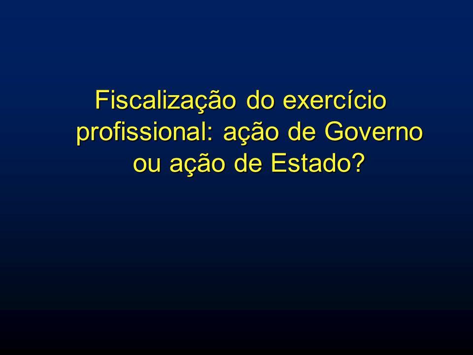 Fiscalização do exercício profissional: ação de Governo ou ação de Estado
