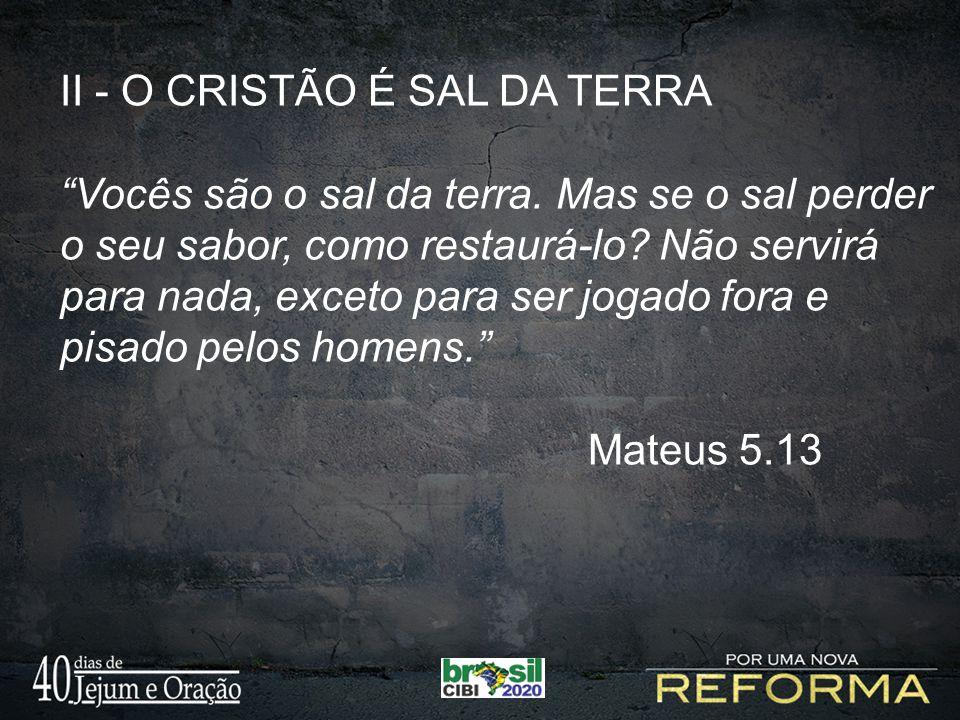 II - O CRISTÃO É SAL DA TERRA