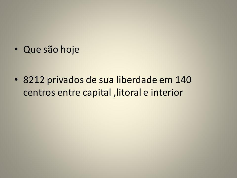 Que são hoje 8212 privados de sua liberdade em 140 centros entre capital ,litoral e interior
