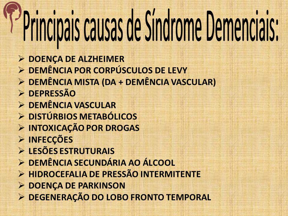 Principais causas de Síndrome Demenciais: