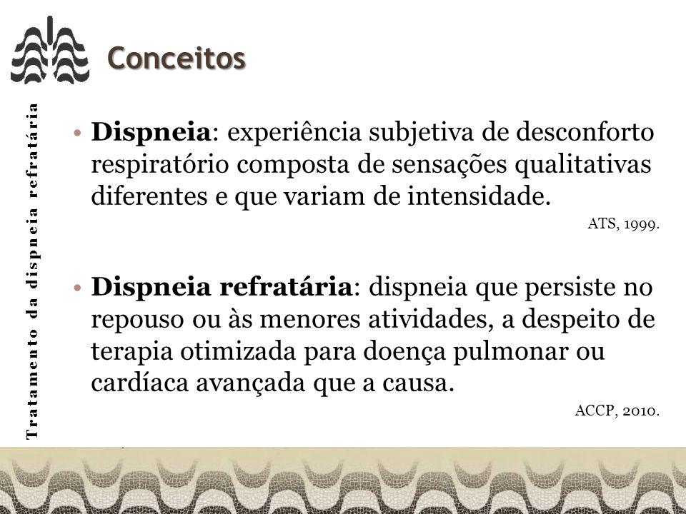 Conceitos Dispneia: experiência subjetiva de desconforto respiratório composta de sensações qualitativas diferentes e que variam de intensidade.