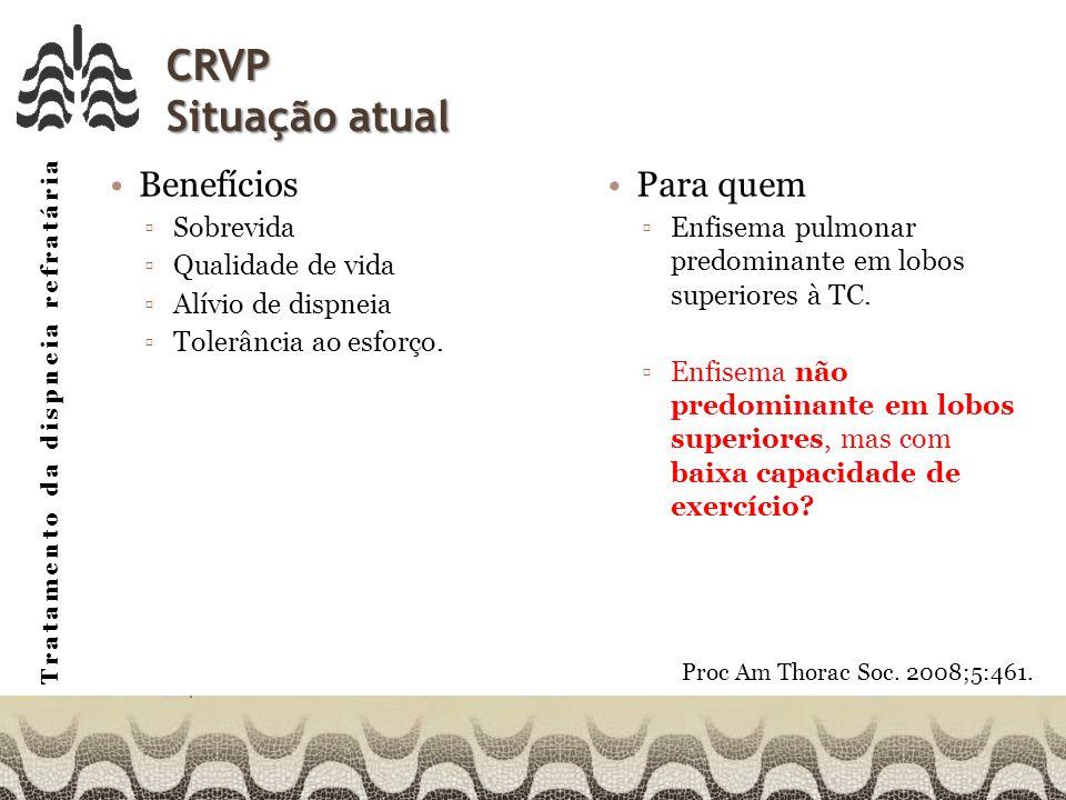 CRVP Situação atual Benefícios Para quem Sobrevida Qualidade de vida