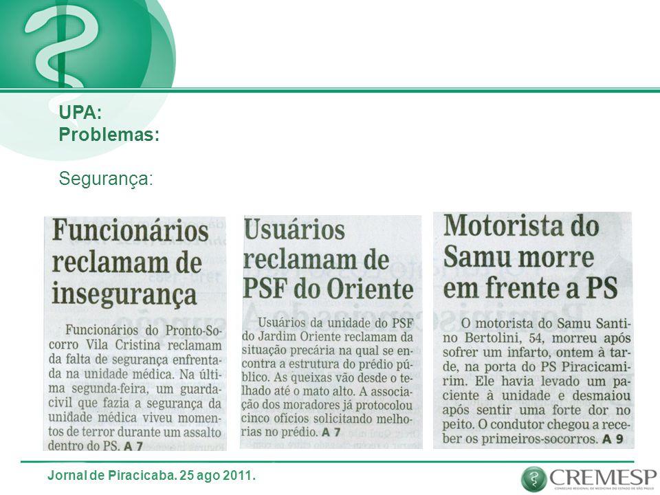 UPA: Problemas: Segurança: Jornal de Piracicaba. 25 ago 2011.