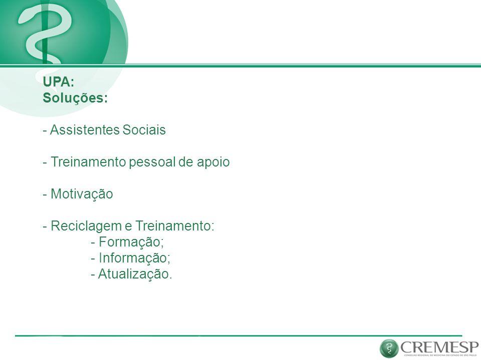 UPA: Soluções: - Assistentes Sociais. - Treinamento pessoal de apoio. - Motivação. - Reciclagem e Treinamento: