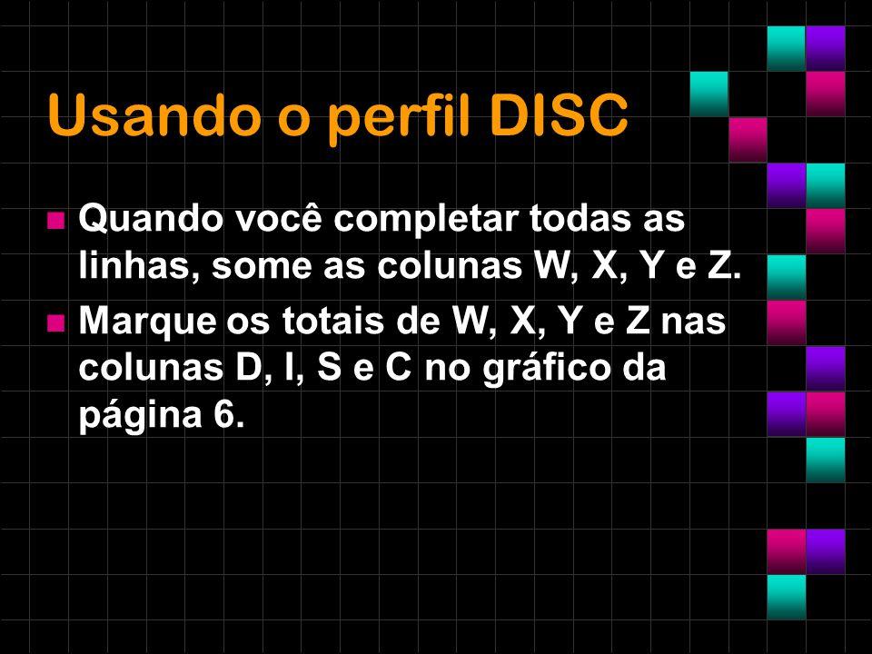 Usando o perfil DISC Quando você completar todas as linhas, some as colunas W, X, Y e Z.