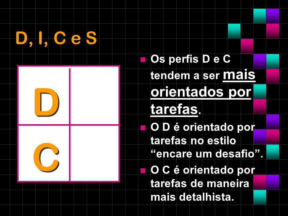 D, I, C e S Os perfis D e C tendem a ser mais orientados por tarefas. O D é orientado por tarefas no estilo encare um desafio .