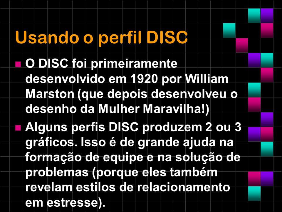 Usando o perfil DISC O DISC foi primeiramente desenvolvido em 1920 por William Marston (que depois desenvolveu o desenho da Mulher Maravilha!)