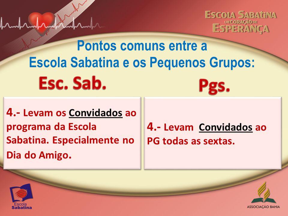 Pontos comuns entre a Escola Sabatina e os Pequenos Grupos: