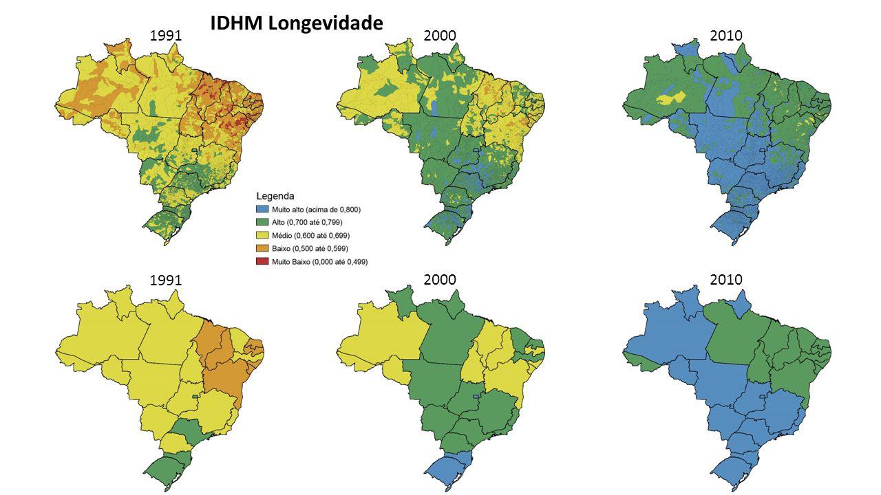 IDHM Longevidade 1991 2000 2010 1991 2000 2010