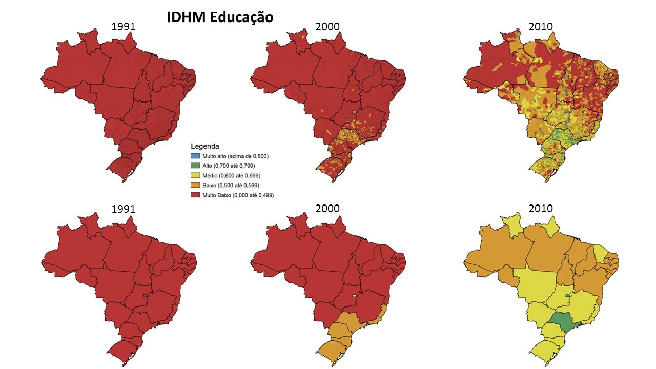 IDHM Educação 1991 2000 2010 1991 2000 2010