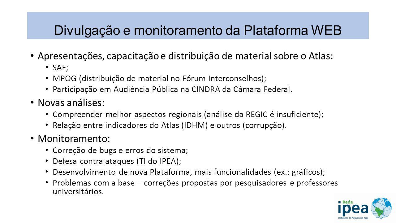 Divulgação e monitoramento da Plataforma WEB