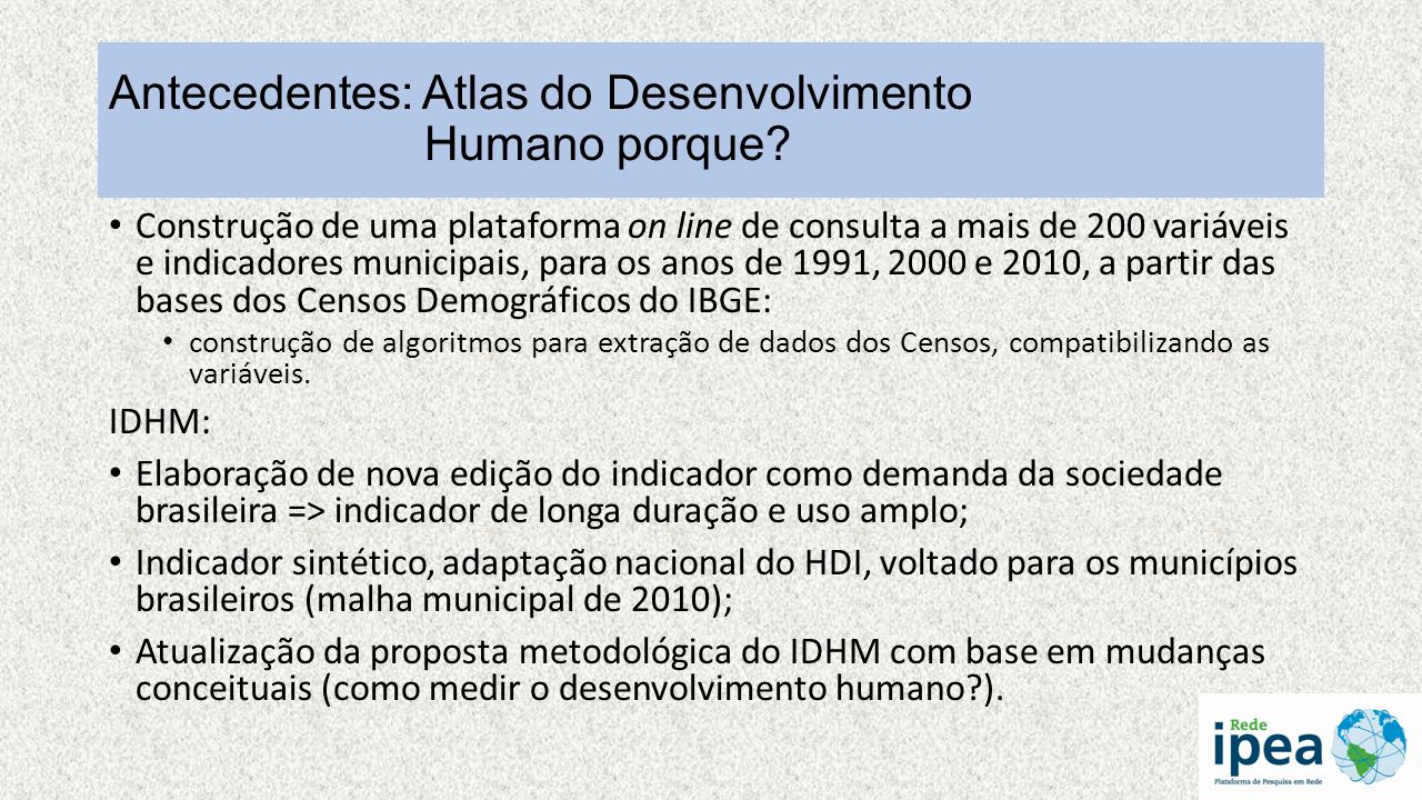 Antecedentes: Atlas do Desenvolvimento Humano porque