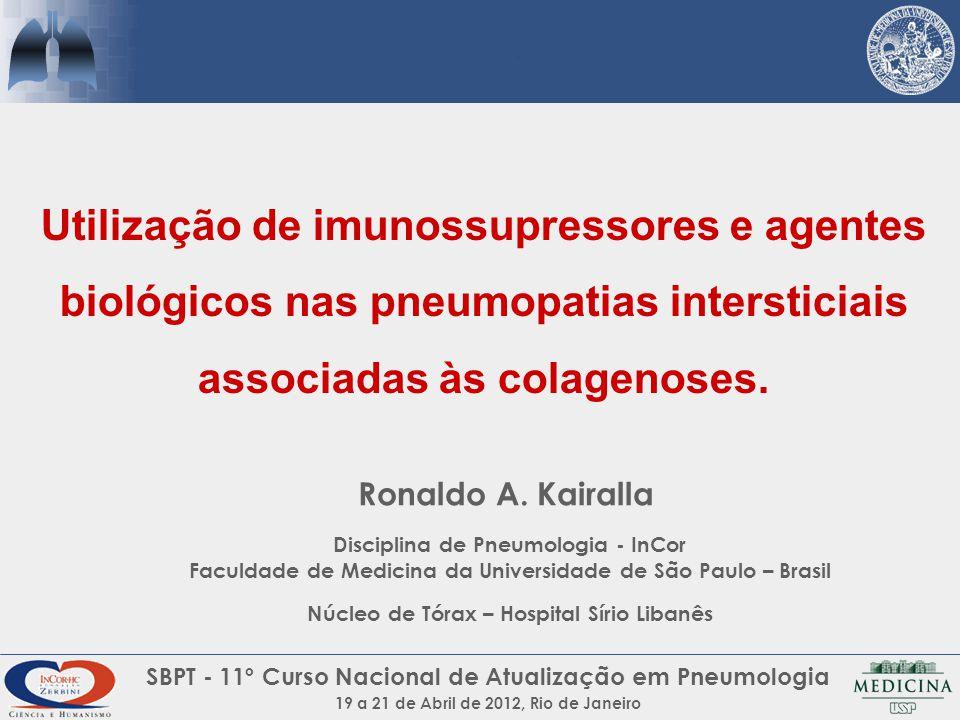 Utilização de imunossupressores e agentes biológicos nas pneumopatias intersticiais associadas às colagenoses.
