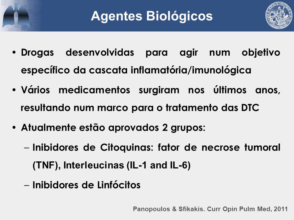 Agentes Biológicos Drogas desenvolvidas para agir num objetivo específico da cascata inflamatória/imunológica.