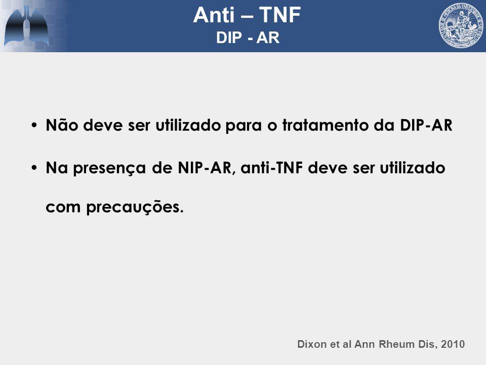 Anti – TNF DIP - AR Não deve ser utilizado para o tratamento da DIP-AR
