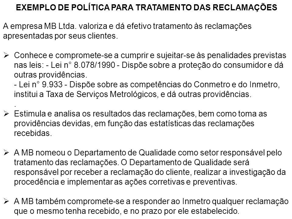 EXEMPLO DE POLÍTICA PARA TRATAMENTO DAS RECLAMAÇÕES